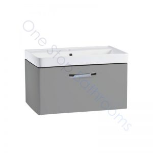 Tavistock Compass Gloss Light Grey 800mm Wall Hung Drawer Unit and Basin with 1 Tap Hole