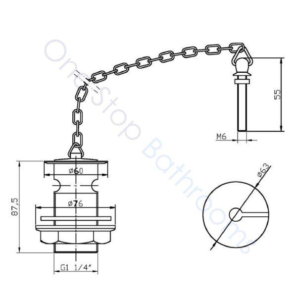 Bayswater Brass Basin Plug & Chain Waste