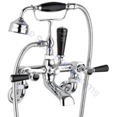 Bayswater Lever Hex Collar Wall Mounted Bath Shower Mixer