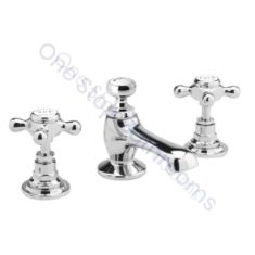 Bayswater Crosshead 3TH Hex Collar Deck Basin Mixer