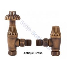 Bayswater Angled Thermo Radiator Valve (Fluted) with Lockshield