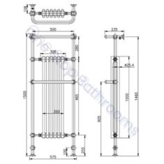 Bayswater Traditional Franklyn 1500mm White Towel Rail