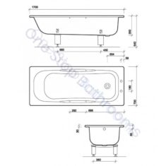 Twyford Celtic Steel Low Volume Bath 2TH 1700x700mm