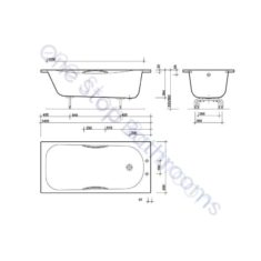 Twyford Neptune Steel Bath 1500 x 700 2TH