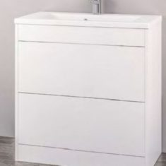 Eastbrook Oslo 100cm Double Push Drawer Base Unit With Oslo Cast Top Basin – Gloss White