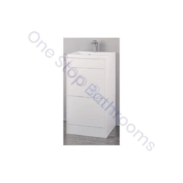 Eastbrook Oslo 100cm Double Push Drawer Base Unit With Oslo Cast Top Basin - Gloss White