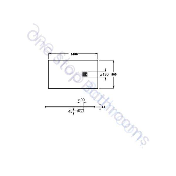 Roca Terran Extra Slim Framed Resin Shower Tray 1400 x 800mm Off White