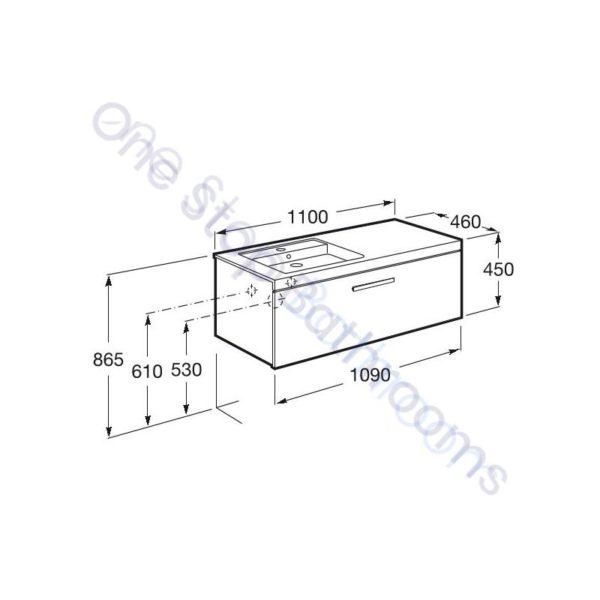 Roca Prisma Unik 1100 x 460mm 1 Drawer Wall Hung Base Unit and RH Basin