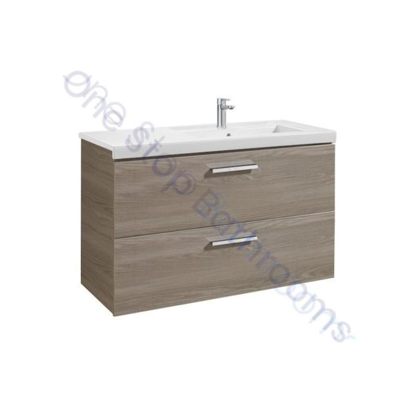 Roca Prisma Unik 1100 x 460mm 2 Drawer Wall Hung Base Unit and RH Basin