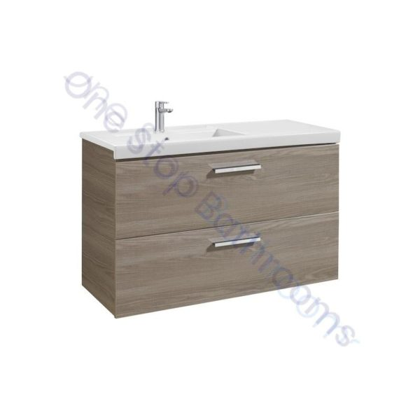 Roca Prisma Unik 1100 x 460mm 2 Drawer Wall Hung Base Unit and LH Basin