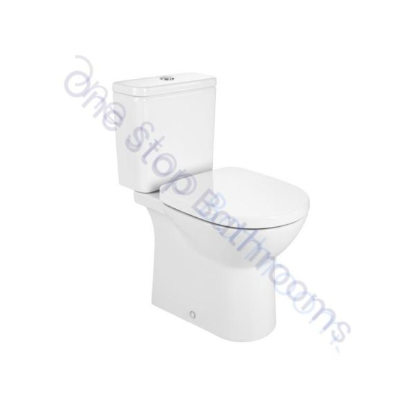 Roca Debba Round Rimless Close Coupled Open Back WC Pan, Cistern & Soft Close Seat