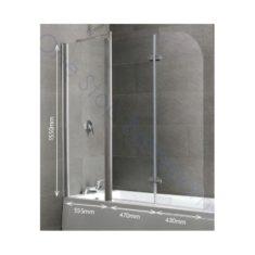 Eastbrook Volente 1 Fixed – 2 Part Hinged Bath Screen 1475 x 1550mm