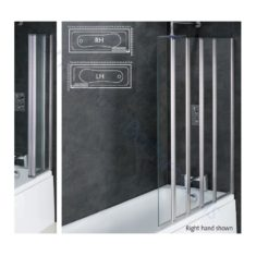 Eastbrook Volente 6mm 1 Fixed – 4 Fold Bath Screen 1250mm