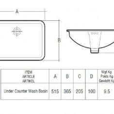 RAK Cleo 51cm Under Counter Wash Basin