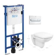 Roca Debba Square Rimless Wall Hung WC Pan, Soft Close Seat & Frame Bundle