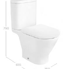 Roca The Gap Round Rimless Open Back C/C WC Pan,Cistern & Soft Close Seat