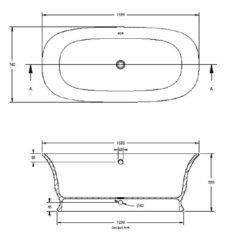 BC Designs Cian®Cast Solid Surface Bampton Bath 1740 x 760mm