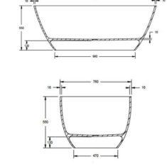 BC Designs Cian®Cast Solid Surface Projekt Esseta Bath 1510 x 760mm