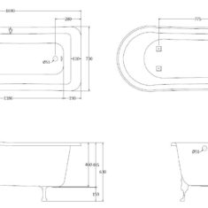BC Designs Fordham Acrylic Slipper Classic Roll Top Bath 1700mm x 770/625mm