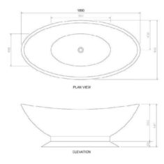 BC Designs Cian®Cast Solid Surface Kurv Bath 1890 x 900mm