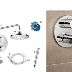 Roca T-1000 Round Built-In Thermostatic Mixer with 2 Outlets & Kit