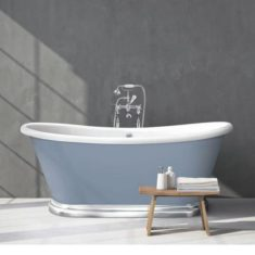 BC Designs Double-skinned Acrylic Aluminium Plinth Boat Bath Freestanding Classic Roll Top – Limited Edition 1700mm x 750mm