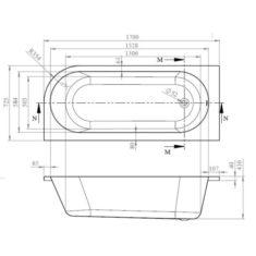 BC-SolidBlue Amerina Bath and Panel 1700 x 725mm