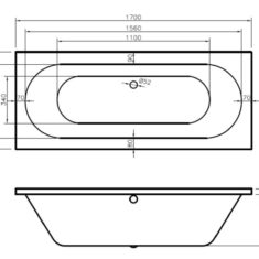 BC-SolidBlue Lambert Bath 1700 x 700mm DE