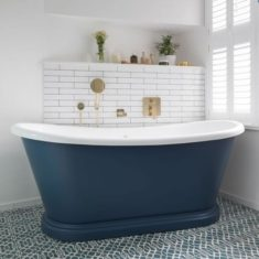 BC Designs Double-skinned Acrylic Boat Bath Freestanding Classic Roll Top 1580mm x 750mm