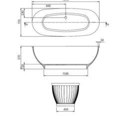 BC Designs Cian®Cast Solid Surface Casini Bath 1680 x 750mm