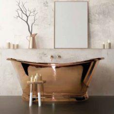 BC Designs Copper Boat Bath Freestanding Classic Roll Top Bath 1700mm x 725mm