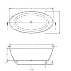 BC Designs Cian®Cast Solid Surface Projekt Divita Bath 1495 x 720mm