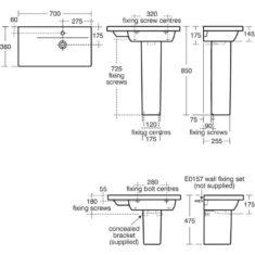 Ideal Standard Concept Space Furniture or Pedestal Basin LH/RH Platform 700 x 380mmm