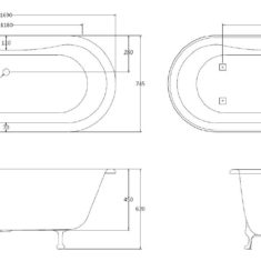 BC Designs Elmstead Acrylic Double Ended Classic Roll Top Bath 1700mm x 745mm