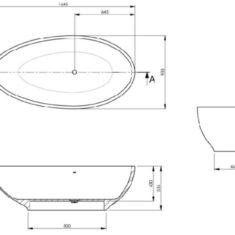 BC Designs Cian®Cast Solid Surface Gio Bath 1645 x 935mm