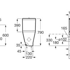 Roca The Gap Round Rimless Compact BTW Close Coupled WC Pan,Cistern & Soft Close Seat
