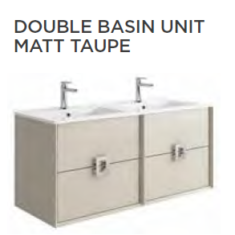 Tissino Aletta Matt 1200 x 460 x 545mm 4 Drawer Base Unit & Double Basin