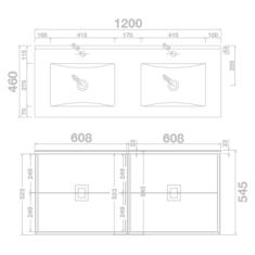 Tissino Aletta Matt 1200 x 460 x 545mm 4 Drawer Base Unit & Double Basin