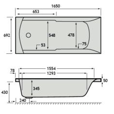 Carron Eco Axis 1650 x 700 x 345mm Acrylic Bath