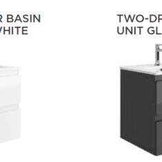 Tissino Catina Gloss 600 x 460 x 522mm 2 Drawer Base Unit & Basin