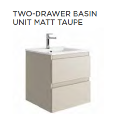 Tissino Catina Matt 500 x 400 x 522mm 2 Drawer Base Unit & Basin