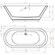 April Haworth 1800 x 800mm Skirted Freestanding Bath