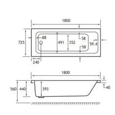 Eastbrook Beaufort Portland SE 1800 x 725 x 440mm Acrylic Bath