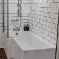 Eastbrook Beaufort Shannon L Shape 1700 x 850 x 400mm Acrylic Shower Bath