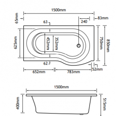 Eastbrook Beaufort Shannon P Shape 1500 x 850 x 400mm Acrylic Shower Bath
