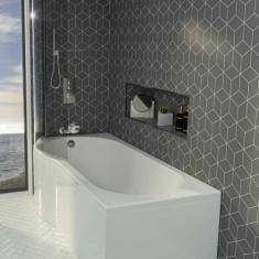 Eastbrook Beaufort Shannon P Shape 1700 x 850 x 400mm Acrylic Shower Bath