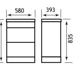 Eastbrook Oslo 58cm 2 Drawer Base Unit – Gloss White